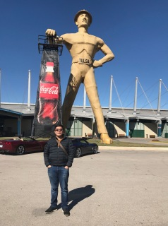 A picture with Tulsa's iconic Golden Driller