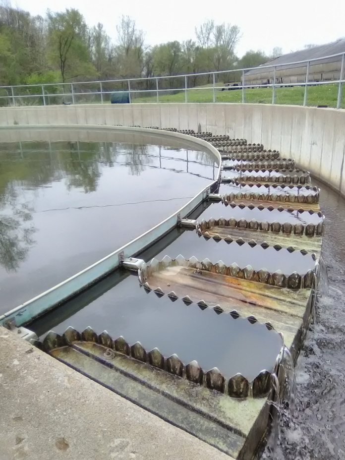 Water from second clarifier goes into the UV room