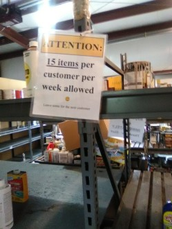 Regulation for the store room