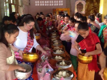 Alms giving on Buddha day